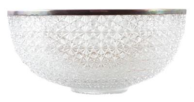 Lot 41-A Victorian cut glass silver rimmed bowl