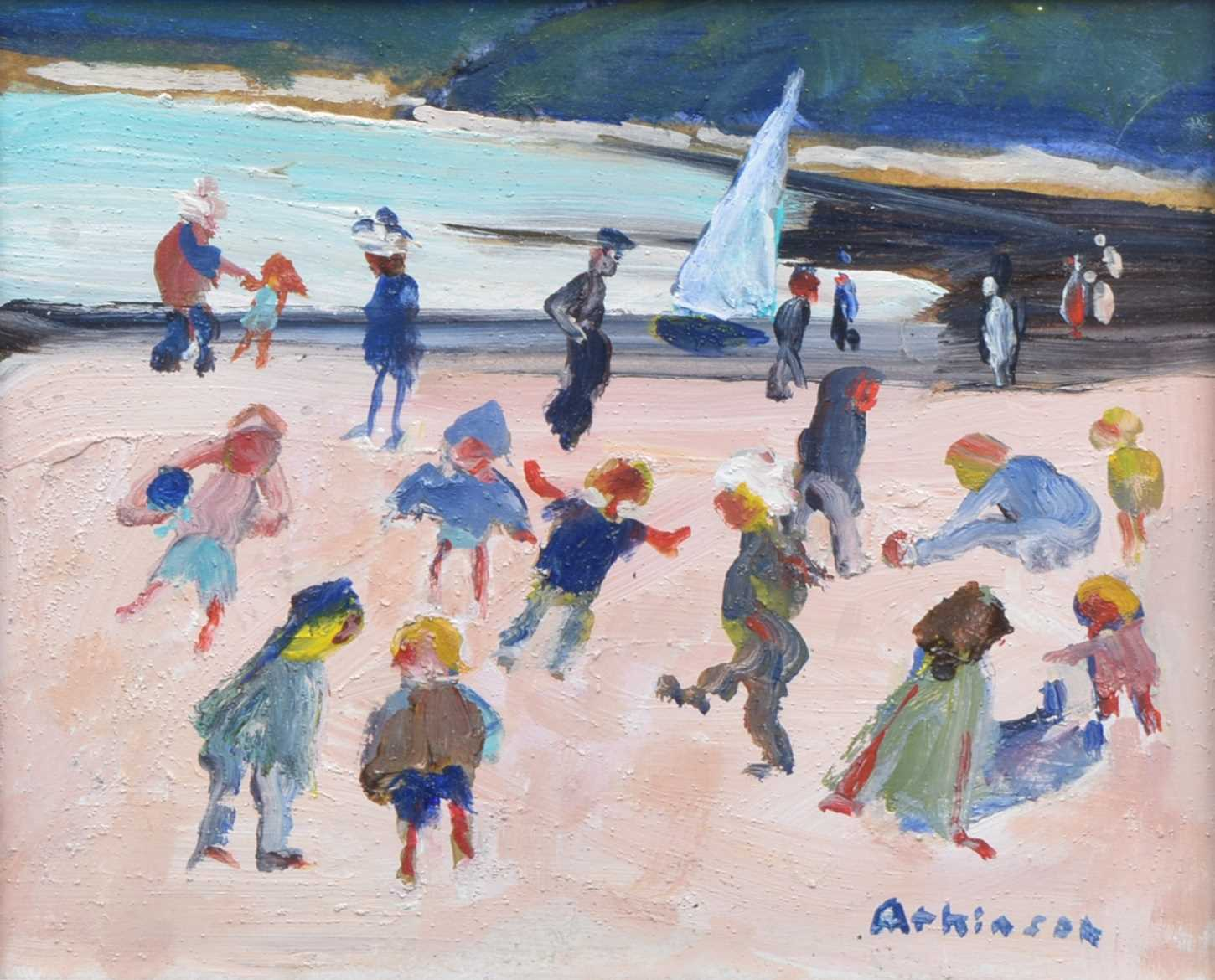 "399 - Sue Atkinson, ""Children on the beach, Runswick Bay"", oil."