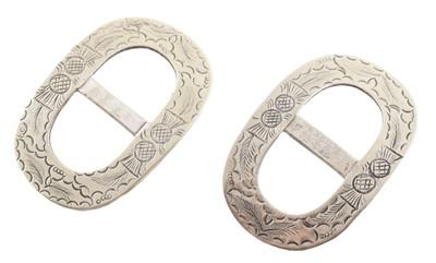 Lot 32-Pair of Georgian white metal shoe buckles