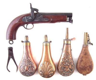 Lot 12-Reproduction percussion coastguard pistol, three powder flasks, bullet mould and a shot flask