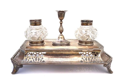 Lot 36-A Victorian silver ink stand