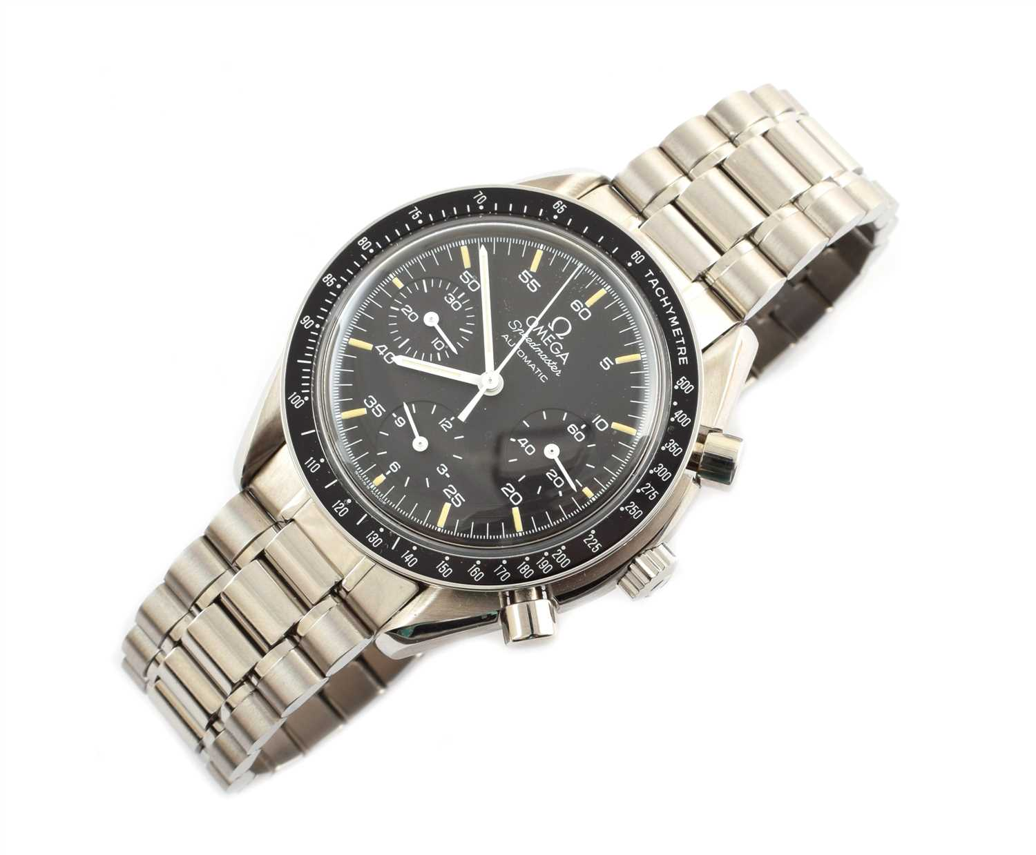 140 - A Gent's Omega Speedmaster chronograph steel bracelet watch.