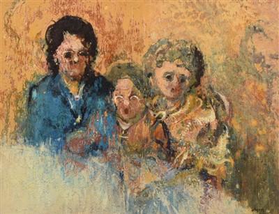 """Lot 466 - John McCombs, """"The Family"""", oil."""