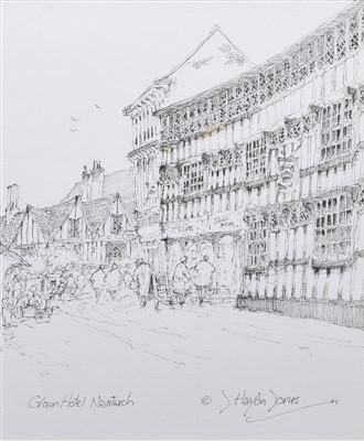 "Lot 513 - John Haydn Jones, ""Crown Hotel, Nantwich"", pen and ink drawing."