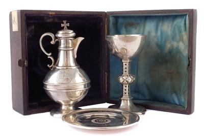 Lot 2-A Victorian silver 3-piece communion set