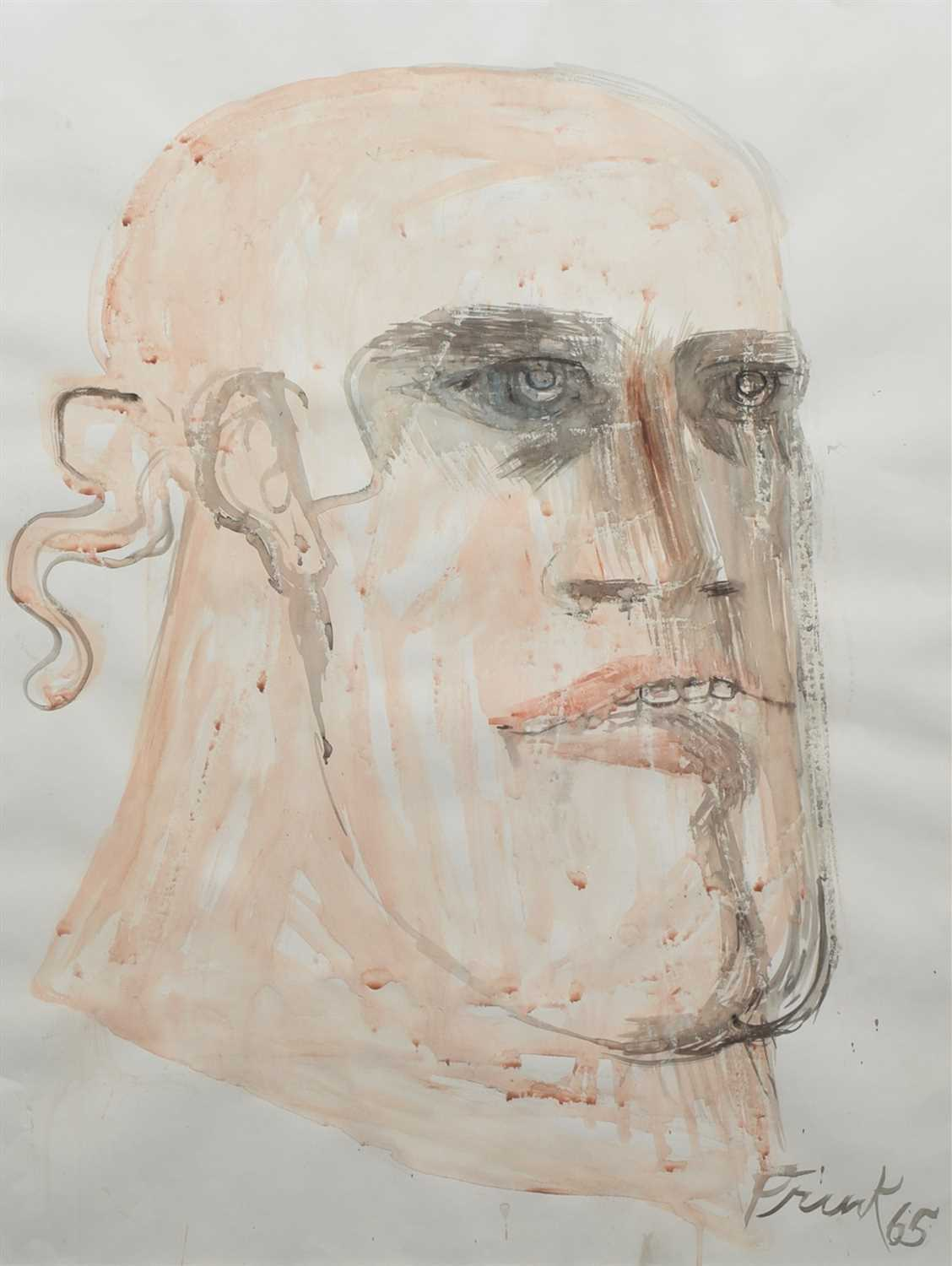 "Lot 412-Dame Elisabeth Frink, ""Soldier's Head"", watercolour."