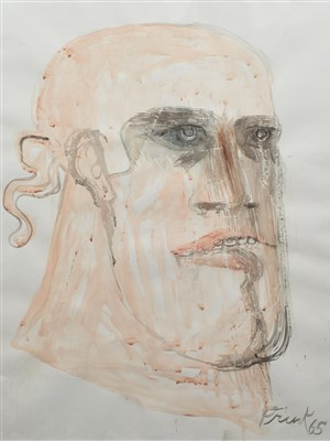 "412 - Dame Elisabeth Frink, ""Soldier's Head"", watercolour."