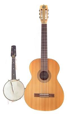 Lot 44-Kay Nylon strung acoustic guitar also a Pele Banjolele