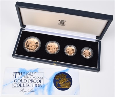 Lot 87 - Elizabeth II, United Kingdom, 1982, Gold Proof Four Coin Collection, Royal Mint.