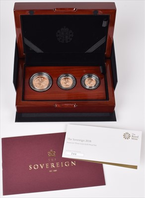 Lot 88 - Elizabeth II, United Kingdom, 2018, Premium Three-Coin Gold Proof Set, Royal Mint.