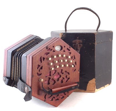 Lot 28-Lachenal 30 key concertina with case