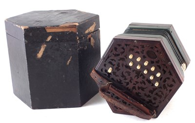 Lot 32-Lachenal 20 key concertina with case