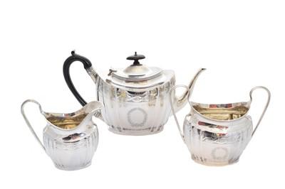 Lot 22-An Edwardian silver three piece tea set