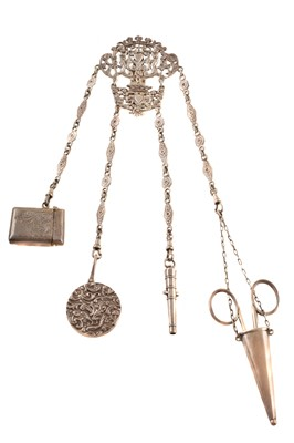 Lot 50-An Edwardian silver chatelaine chain