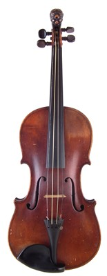 Lot 8-German violin with lion head scroll and case