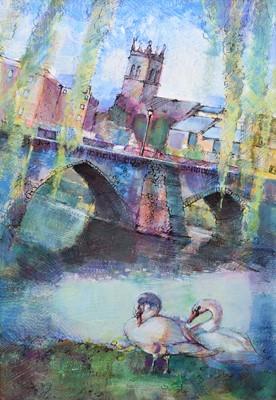 """Lot 97 - Bohuslav Barlow, """"Two Swans at the Bridge, Chester"""", mixed media."""
