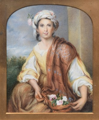 Lot 573 - Framed miniature portrait of a lady holding a basket of flowers.