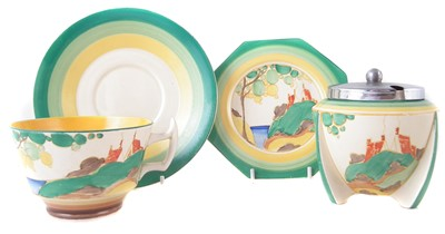 Lot 344 - Clarice Cliff preserve, cup and saucer and a plate