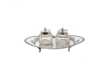 Lot 15-An Edwardian silver ink stand by Henry Matthews