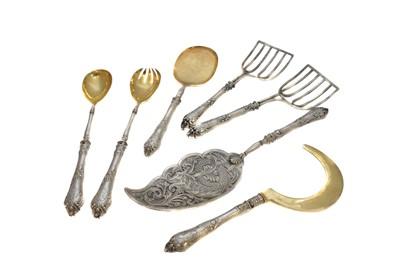 Lot 12-A set of Russian silver handled flatware
