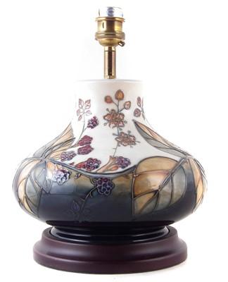 Lot 348 - Moorcroft brambles pattern lamp and shade
