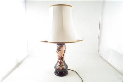 Lot 347 - Moorcroft Sweet Briar pattern lamp and shade