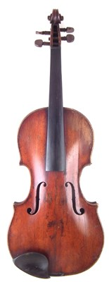 Lot 14-German violin with three bows and a case