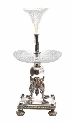Lot 9-A late Victorian silver plated and cut glass epergne