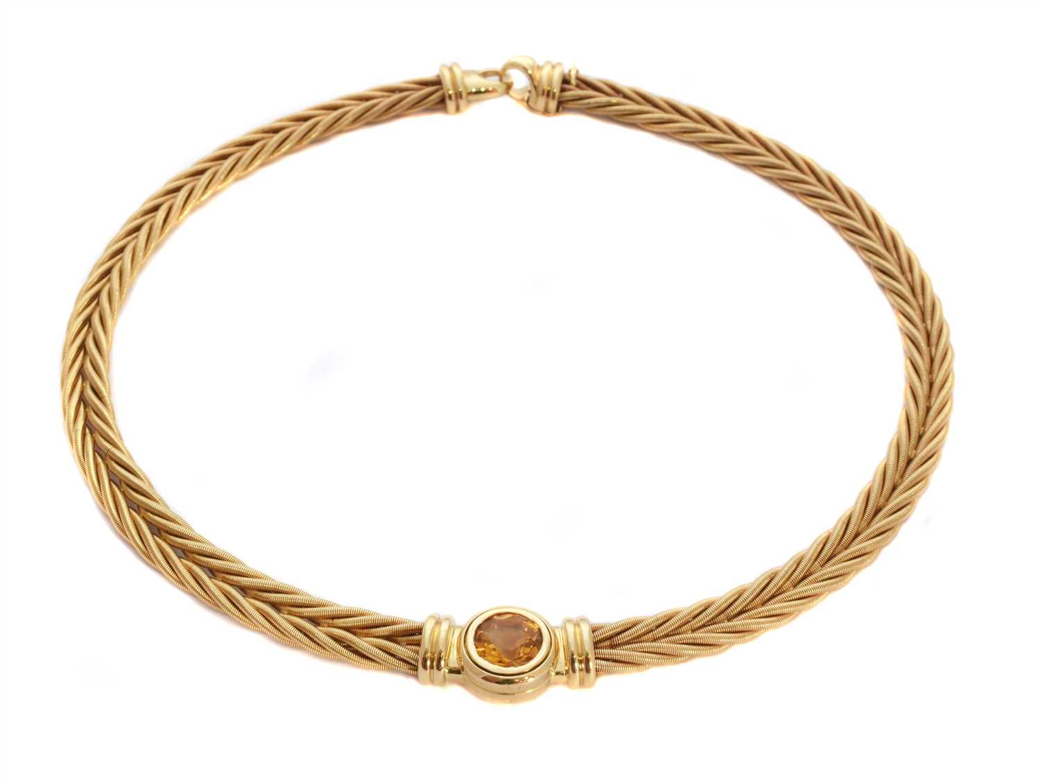 Lot 169-An 18ct gold citrine necklace by Wellendorff