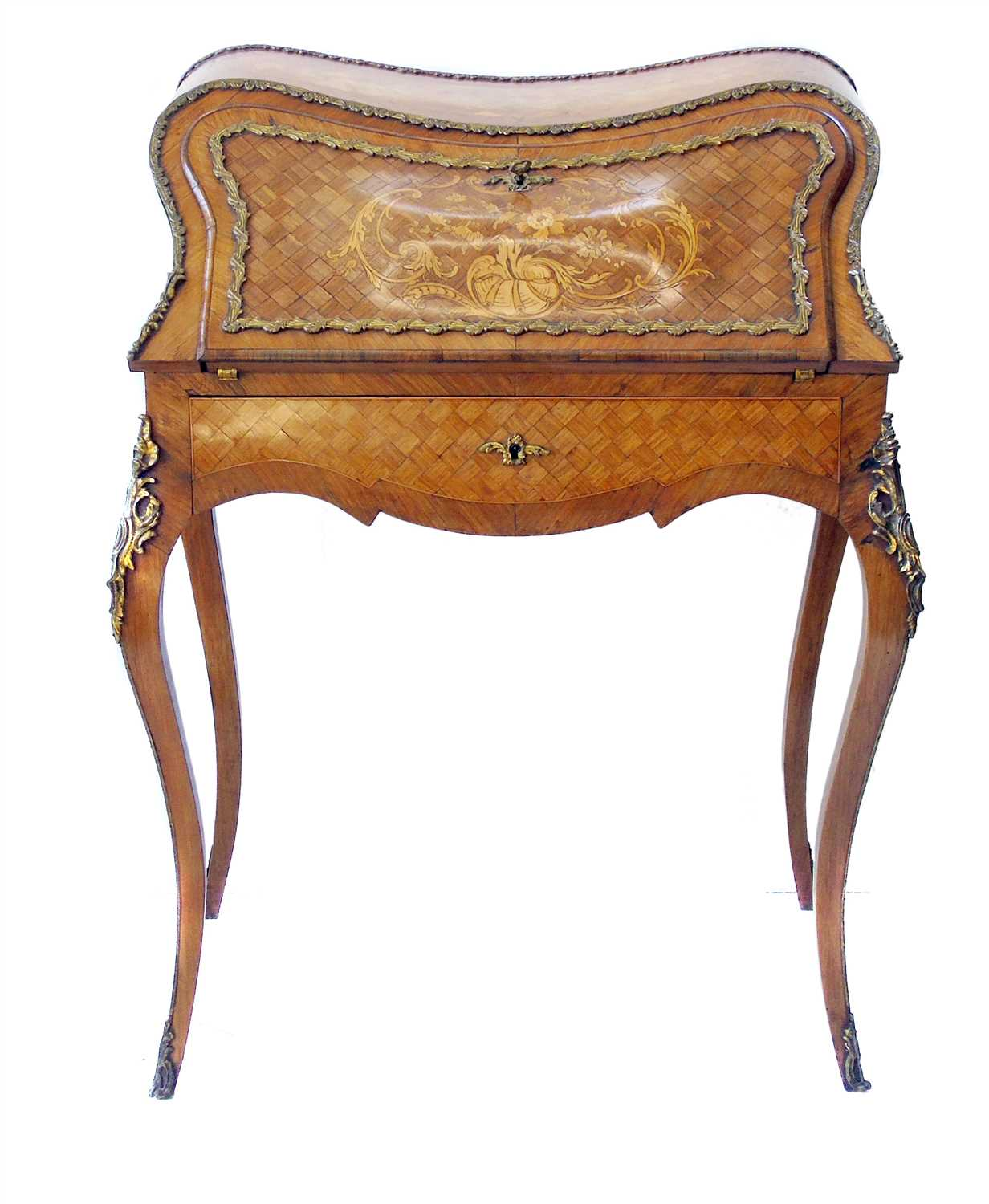 599 - Mid 19th century French Kingwood veneered ladies writing bureau