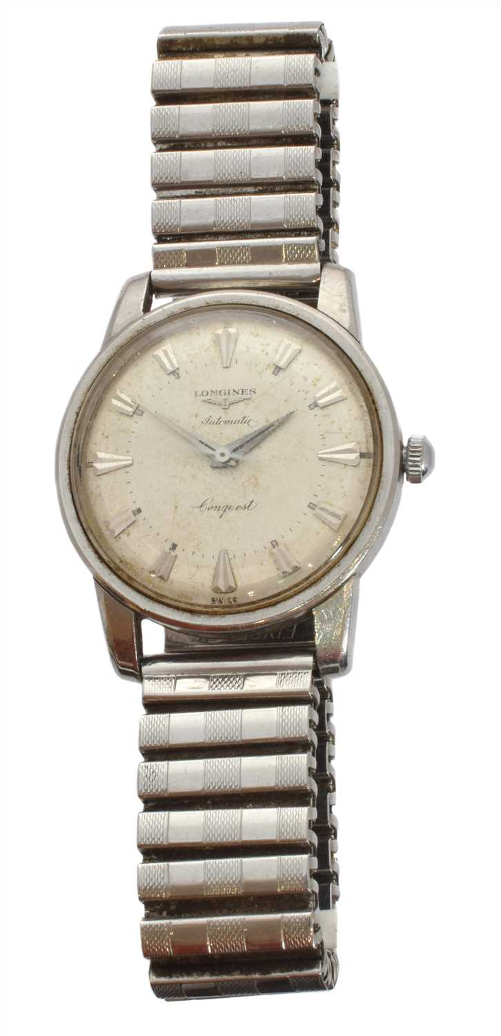 282 - A mid 20th Century gents Longines stainless steel 'Conquest' automatic wristwatch,