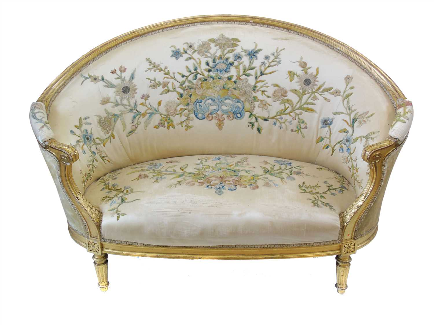 190 - Mid 19th century French gesso framed two seater sofa