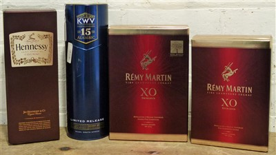 Lot 54 - 4 Bottles (including 2 litre bottles) Fine Cognac and S.African Alambic Brandy