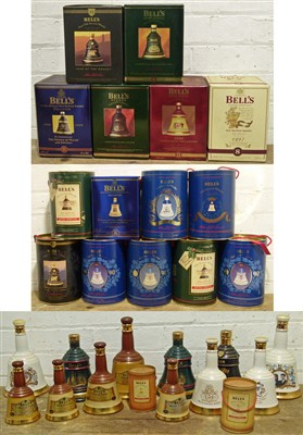 Lot 47 - 28 Bottles  (various sizes described within Lot) Bell's Whisky Commemorative Decanters