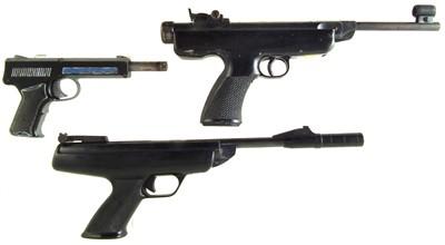 Lot 56-BSA Scorpion .177 air pistol, Original Model 5 .177 air pistol and a Diana SP50