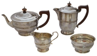 Lot 21-A 1930s silver four piece tea set