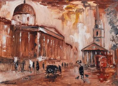 """Lot 30 - J.L. Isherwood, """"Rain, National Gallery, St. Martin's"""", oil."""