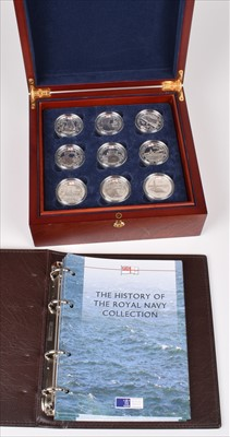 """Lot 61 - Collection of Royal Mint """"The History of the Royal Navy Collection"""" proof silver £5 coins."""