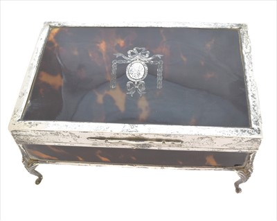 Lot 12-An early 20th Century tortoishell and silver trinket box