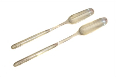 Lot 4-A pair of George IV silver marrow scoops