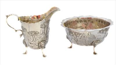 Lot 7-A Georgian silver milk jug and sugar bowl