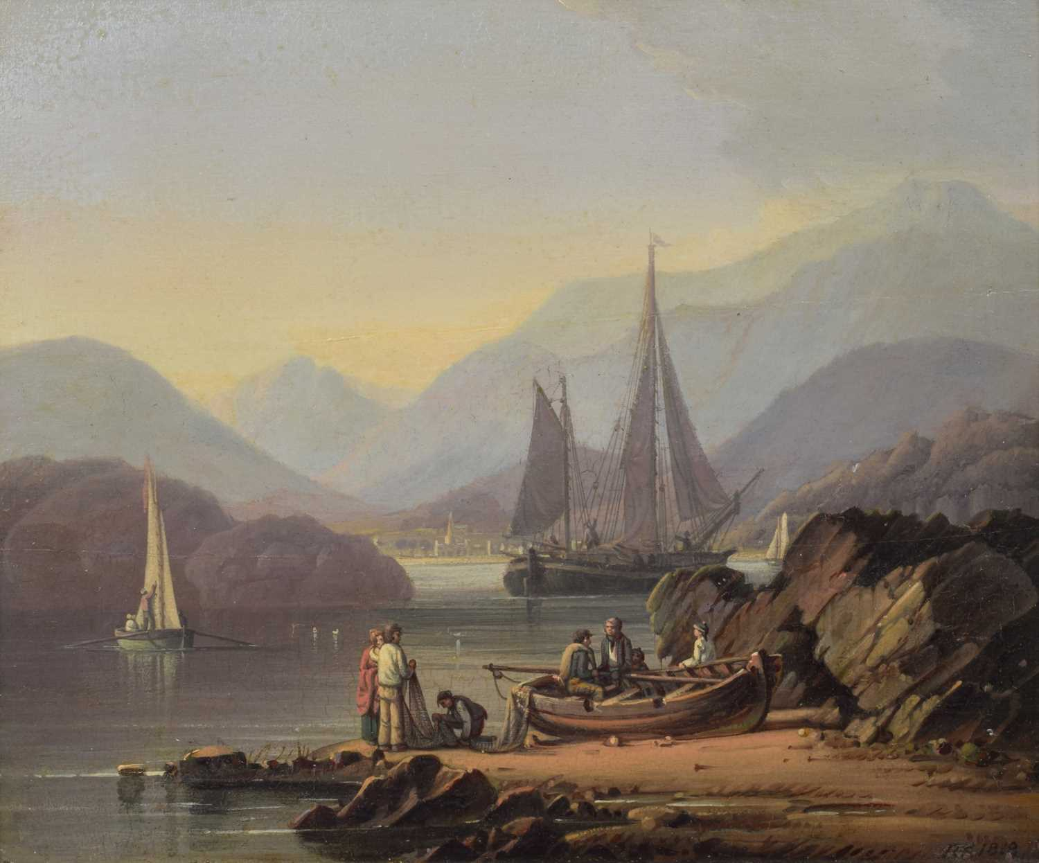206 - Robert Salmon, Coastal scene with boats and figures, oil.