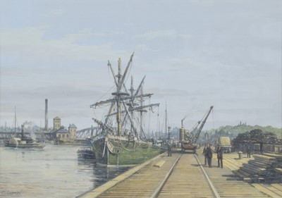 "Lot 92 - J.L. Chapman, ""Unloading Timber, Trafford Wharf"", gouache."