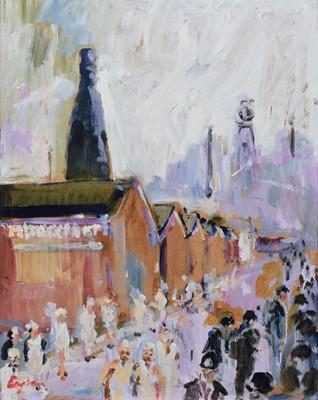 "Lot 95 - F.J. England, ""Moorcroft Girls and Pit Lads, Cobridge Factory Road ""Black and White"", acrylic."