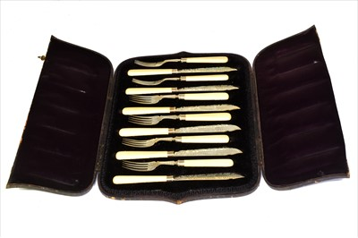 Lot 34-A Victorian silver cutlery set
