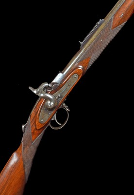 Lot 18-Cased Westley Richards Monkey Tail Rifle serial number 740 with case