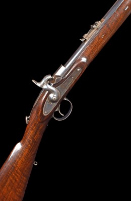 Lot 19-Cased Westley Richards Monkey Tail rifle serial number 328 in case