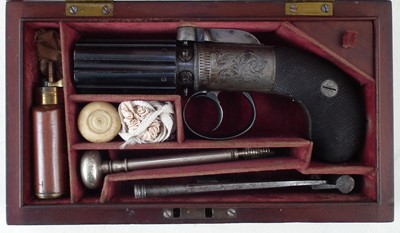 Lot 31-Cased Williams and Powell pepper box .32 calibre cased pistol