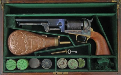 Lot 30-20th century Colt Dragoon .44 muzzle loading revolver number 25587 with case and box and belt buckle