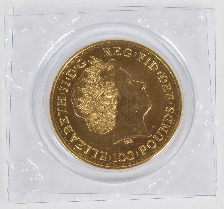 Lot 21-Queen Elizabeth II, 2013 Gold 1oz Britannia, 100 Pounds.